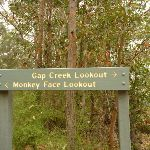 Sign showing Gap Creek Lookout and Monkey Face Lookout on Monkey Face road in the Watagans (323048)