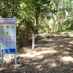 Locked gate and Blackbutt Reserve sign near Lookout Road (400552)