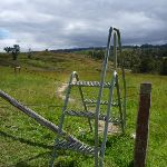 Climbing a fence using a stile (412790)